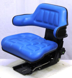 Blue Vinyl Suspension Seat For Mini Excavators Rt Forklifts And Compact Tractors