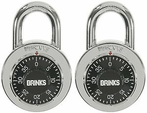 Brinks Stainless Steel Dial Combination Padlock With Black Dial 2 pack