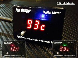 Digital Automotive Volt Oil Water Temp Gauge Meter Led 3 In 1 tg 75010