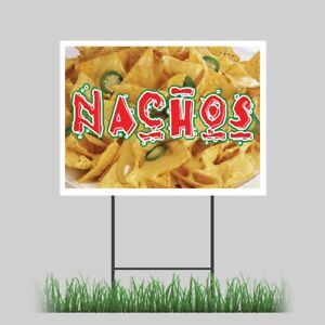 12 x18 Nachos Yard Sign Cheese Chips Mexican Food Concession Stand Sign