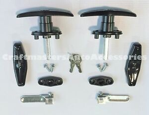 Truck Cap Topper Black Handles locks W covers Bauer t311 2 Complete Set