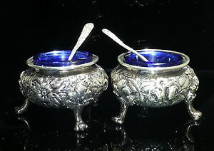A Jacobi Co Rose Repousse Sterling Silver Pair Of Salt Cellars Cobalt Glass