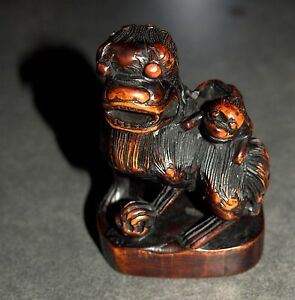 Old Chinese Wood Hand Carved Fu Lion Foo Dog Monkey On Back Figurine Statue