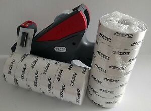 Meto 5s 26 Labe Price Gun 5 Digit Large Print Box White Labels Ink Roller