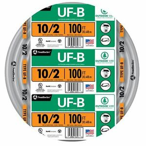 100 Roll 10 2 Awg Ufb Gauge Outdoor Electrical Feeder Copper wire Romex Cable