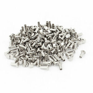 200 Pcs 3 32 X 1 4 Nickel Plated Fasteners Oval Head Semi Tubular Rivets