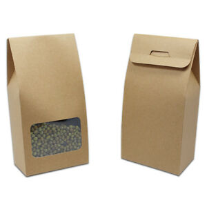 8cm 15 5cm 5cm Stand Up Kraft Paper Box With Window Favor Gift Cookie Candy Box