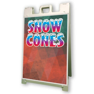 Snow Cones Sidewalk Sign Retail A Frame 24 x36 Concession Stand Outdoor Vinyl