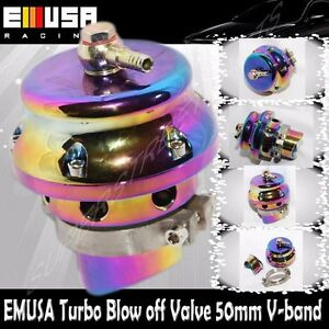 Emusa Turbo Universal Blow Off Valve 50mm V Band Rainbow Mustang Camaro Neon Bov