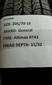1 Used General Altimax Rt43 205 70 16 2057016 205 70 16 Fast Free Shipping