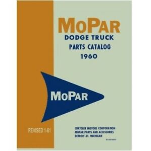 Illustrated Mopar Parts Manual For 1960 Dodge Trucks
