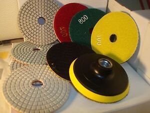 5 Inch Diamond Polishing Pads Wet dry Set Granite Concrete Marble Stone 10 Piece