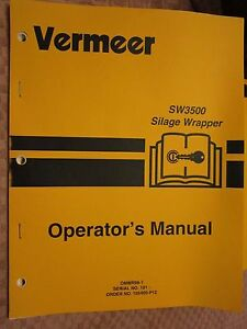 Vermeer Sw3500 Silage Wrapper Operators Manual