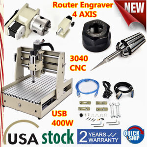 Usb Port 400w Cnc Router Engraver 4 Axis 3d Milling Engraving Dril Machine 3040