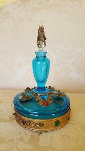 Best Rare Antique Jeweled Boxtle Combo Perfume Bottle W Powder Jar
