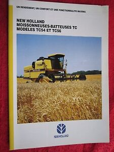 1995 New Holland Tc54 Tc56 Combine 20pg Brochure french Text