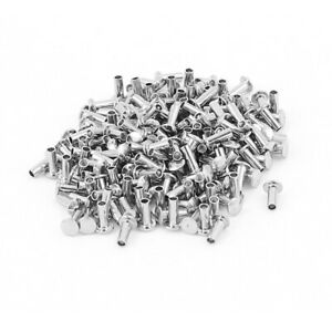 200 Pcs 5 64 X 13 64 Nickel Plated Fasteners Oval Head Semi Tubular Rivets