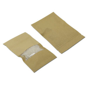 Resealable Ziplock Kraft Paper Bags Gift Food Packaging Brown Pouch With Window