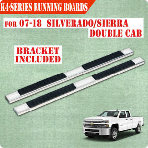 For 07 18 Chevy Silverado Double Extended Cab 4 Nerf Bar Running Board Step H