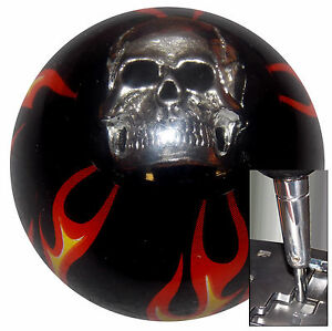 Black Flamed Skull Shift Knob For Dodge Chrys Jeep Auto Stick W Adapter