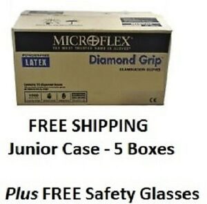 Diamond Grip Gloves 5 Box Case Plus Free Safety Glasses