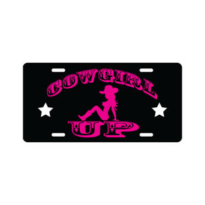 Cowgirl Up License Plate Funny Country Novelty Tag