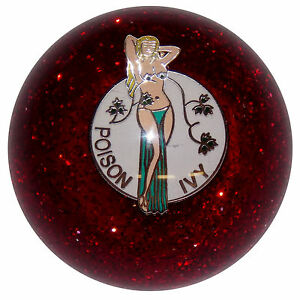 Poison Ivy Red Glitter Shift Knob M16x1 50 Fits Camaro Trans Am Firebird