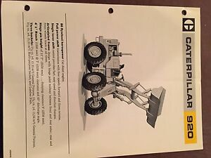 Cat Caterpillar 920 Wheel Loader Brochure Original Antique Track