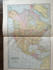 Antique Color Map Of North America Circa 1893