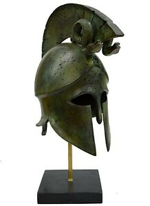 Greek Spartan Corinthian Helmet With Snakes Antique Style Bronze Item