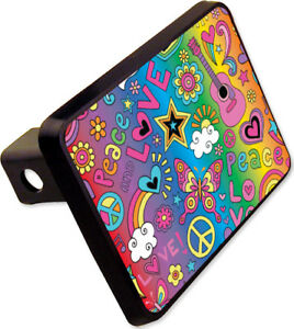 Peace Love Trailer Hitch Cover Plug Funny Hippie Novelty