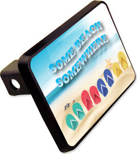 Some Beach Some Where Trailer Hitch Cover Plug Funny Novelty