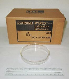 12 New Corning 3160 101bo Glass Pyrex Petri Dish Dishes Bottoms 100x15