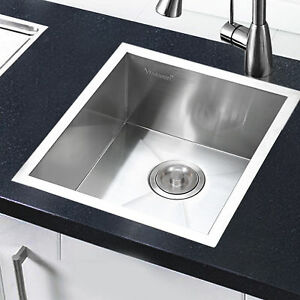 Stainless Steel Kitchen Sink Commercial 19 Gauge Square Bowl Top Mount 17 x17