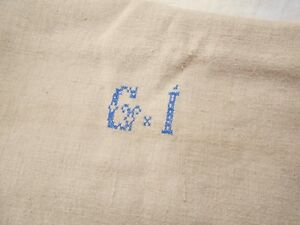 19x51 Vtg Antique No Stripe Monogrammed Hemp Linen Fabric Feed Sack Grain Bag