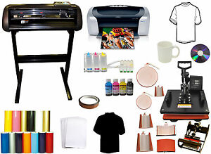 8in1 Combo Heat Press 24 1000g Vinyl Cutter Plotter printer ciss Mug Ink Bundle
