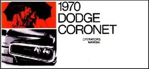 Factory Owner S Manual For 1970 Dodge Coronet