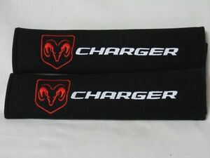 Dodge Charger Pair Of Seat Belt Cover Shoulder Pad Embroidery Look