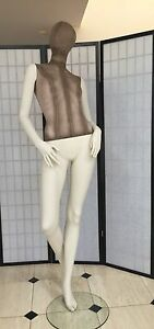 Fiberglass Female Mannequin Egg Head Stripped Jersey Cover Full Body Display