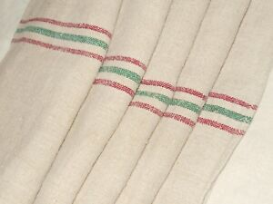 21x55 Vtg Antique Christmas Red Green Stripe Hemp Linen Fabric Sack Grain Bag