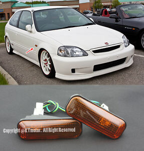 For 96 00 Honda Civic Replacement Smoked Amber Dome Side Marker Lights Lamp Ek