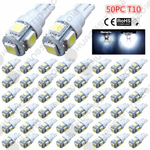 50pcs Super White T10 Wedge 5 Smd 5050 Led Light Bulbs W5w 2825 158 192 168 194