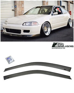 Eos Visors Smoke Tinted Side Window Deflectors For 92 95 Honda Civic Hatchback