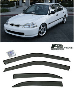 Eos Visors For 96 00 Honda Civic Sedan Jdm Smoke Tinted Side Window Deflectors