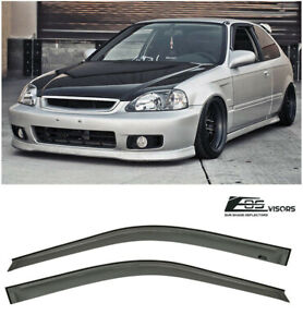 Eos Visors For 96 00 Honda Civic 2 3dr Jdm Tape On Side Window Rain Deflectors