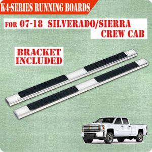 For 07 18 Chevy Silverado Crew Cab 4 Nerf Bar Running Board Side Step Chrome H