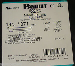 500 Panduit Plm4s d0 Cable Marker Flag Zip Ties 14 5 8 Weather Resistant Nylon