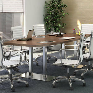 Modern Conference Boatshaped Table Metal Base Meeting Room 8 10 12 14 16 18 Ft