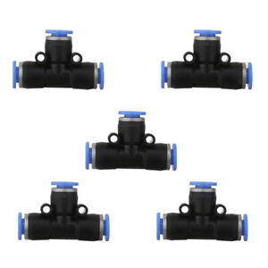 5pcs 6mm Pneumatic Tee Union Tube Push In To Connect Fitting Quick Release