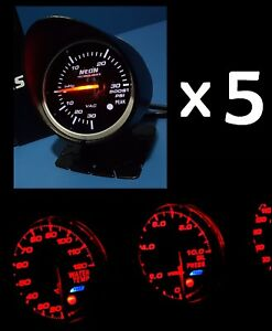 5 X 60mm Gauge Kit Boost Turbo Water Temp Oil Pressure Egt Exhaust Afr Volt Rpm